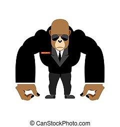 bezpieczeństwo, wektor, uchronić, czarnoskóry, goryl, cielna, straż przyboczna, animal., suit., ilustracja