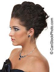 biżuteria, do góry, ustalać, włosy