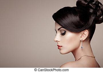 biżuteria, portret, fason, piękna kobieta, młody