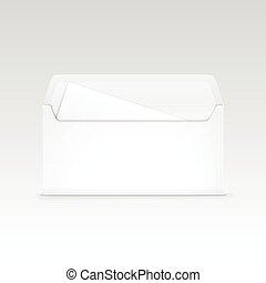 biała koperta, odizolowany, czysty