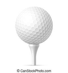 biała piłka, golfowy trójnik