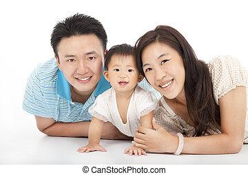 biała rodzina, szczęśliwy, odizolowany