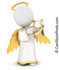biały, 3d, anioł, ludzie