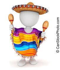 biały, 3d, meksykanin, ludzie