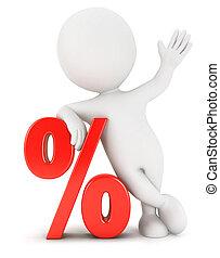 biały, 3d, procent, ludzie