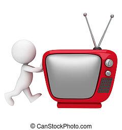 biały, 3d, telewizja, ludzie