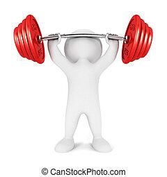 biały, 3d, weightlifting, ludzie