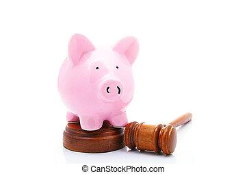 biały, bank, świnka, prawny, gavel