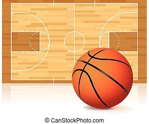 biały, basketball dziedziniec, odizolowany