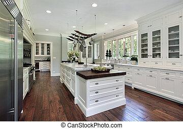 biały, cabinetry, kuchnia