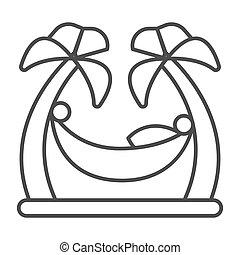biały, cienki, człowiek, między, ikona, mobile., drzewa, hamak, znak, dłonie, styl, odprężając, tło, pojęcie, plaża, kreska, waterpark, szkic, graphics., wektor, dłoń, dwa, ikona