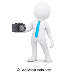 biały, człowiek aparatu fotograficzny, 3d