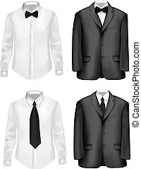 biały, czarnoskóry, koszule, garnitur