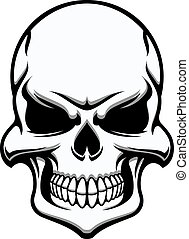 biały, czarnoskóry, ludzka czaszka, straszny