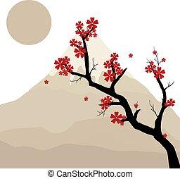 biały, drzewo, wektor, japończyk, ilustracja, tło.