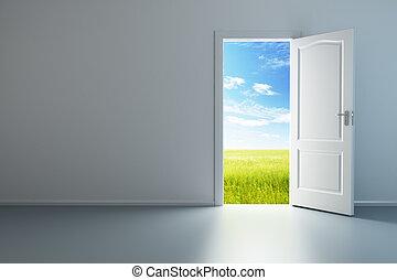 biały, drzwi, pokój, opróżniać, otworzony