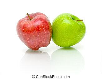 biały, dwa, tło, jabłka