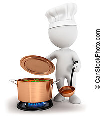 biały, gotowanie, 3d, ludzie