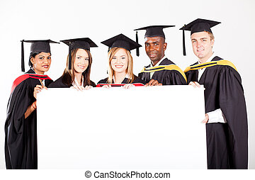 biały, grupa, deska, absolwenci