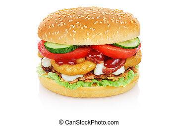 biały, hamburger, odizolowany