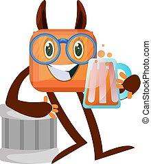biały, ilustracja, piwo, potwór, wektor, tło.