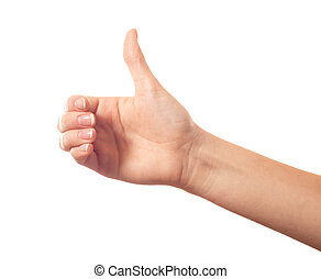 biały, kciuk, tło, do góry