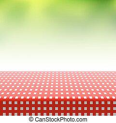 biały, klatkowy tablecloth, czerwony