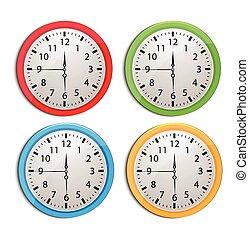 biały, komplet, odizolowany, zegar