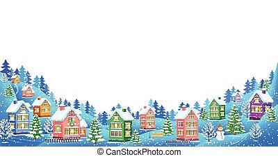 biały, krajobraz, zima, tło, skład