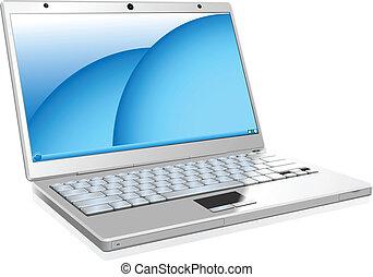 biały, laptop