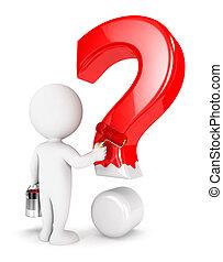 biały, ludzie, pytanie, 3d, marka
