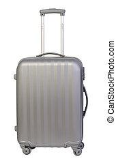biały, nowoczesny, walizka, odizolowany, tło