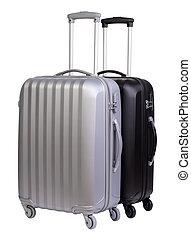 biały, nowoczesny, walizki, odizolowany, tło