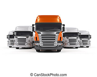 biały, odizolowany, ciężarówki