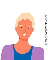 biały, odizolowany, doskonały, kobieta, uśmiech, blondynka
