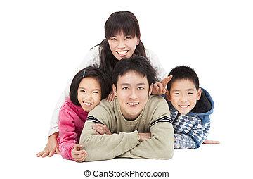 biały, odizolowany, rodzina, szczęśliwy