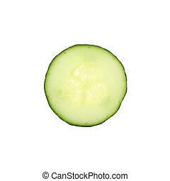 biały, odizolowany, zielony, kromka, ogórek, tło