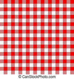 biały, pled, tablecloth, czerwony