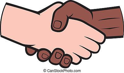 biały, potrząsanie, czarny człowiek, ręka