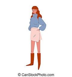 biały, przypadkowy, nowoczesny, tło, różowy, brązowy, ładny, ilustracja, clothes., poła, rysunek, style., wektor, błękitny, dziewczyna, boots., sweter, stoi, lekki, wysoki, dorosły, kobieta, krótki, młody, pień