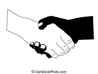 biały, ręka, czarnoskóry, potrząsanie