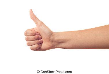 biały, ręka, kciuk, tło, do góry