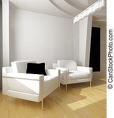 biały, rysunek, pokój