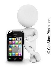 biały, smartphone, 3d, ludzie
