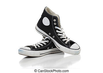 biały, sneakers, retro, tło
