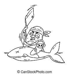 biały, statek, obraz, wektor, pingwin, page., skaleczenia, kok, kolorowanie, odizolowany, zabawny, cleaver., rekin, ilustracja, pomylony, ptak, fish., gotowanie, pirat, doodle, style., tło