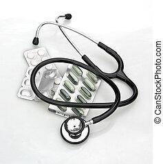 biały, stetoskop, pigułki
