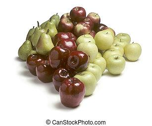 biały, stos, jabłka, gruszki