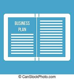biały, strategia, plan, handlowy, ikona