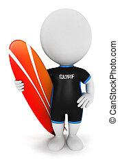biały, surfer, 3d, ludzie